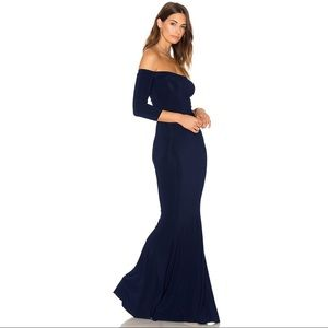 Norma Kamali navy off the shoulder fishtail gown